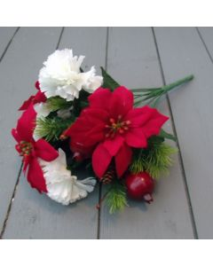 Artificial 37cm Red Poinsettia, Ivory Carnation, Berry & Cones Bush