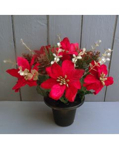 Artificial Poinsettia and Foliage Crem Pot
