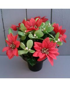 Artificial 24cm Poinsettia and Mistletoe Weighted Grave Pot