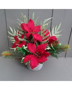 Artificial 25cm Potted Red Poinsettia and Frosted Fern