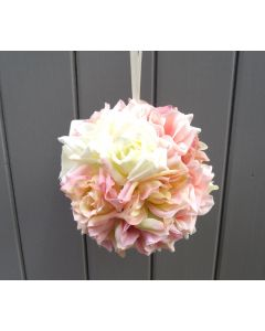 Artificial Cream and Pink Vintage Rose Pomander