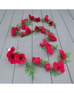 Artifcial 6ft Red Poppy Garland