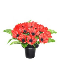 Artificial 25cm Red Poppy Grave Pot