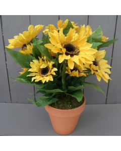 Artificial 38cm Potted Sunflower