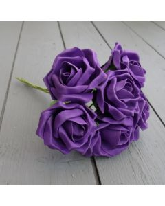 Artificial Purple Colourfast Roses - Bunch of 6