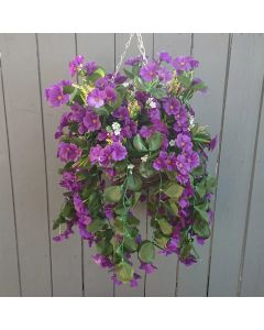 Artificial 60cm Purple Nasturium Hanging Basket