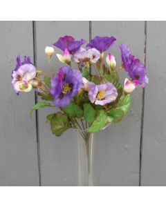 Artificial 26cm Purple Pansy Bush