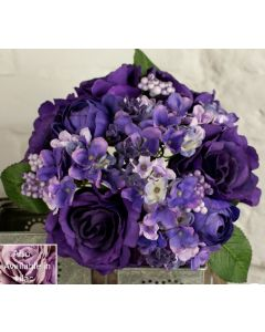 Artificial Purple Rose and Hydrangea Bouquet