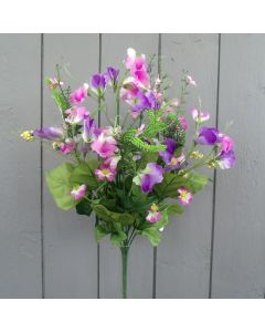 Artificial 45cm Purple Sweetpea Bush