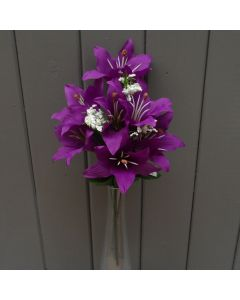 Artificial 35cm Purple Tiger Lily Bush - 7 Heads