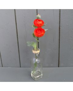 Artificial 31cm Orange Ranunculus in a Glass Bottle