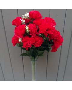 Artificial 45cm Red Carnation Bush - 18 Heads
