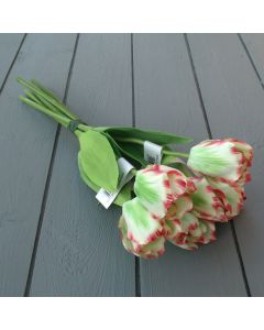 Artificial 40cm Pink and Green Tulip Bunch - 6 Stems