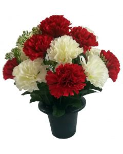 Artificial Red and Ivory Carnation Grave Pot