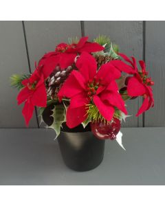 Artificial 24cm Red Poinsettia, Cones and Fruit Crem Pot