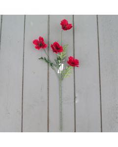 Artificial 45cm Red Poppy Spray