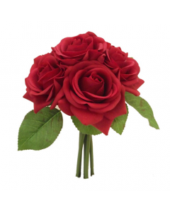 25cm Artificial Real Touch Red Rose Bunch of 6