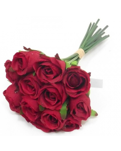 25cm Artificial Red Rose Bunch of 13 Stems