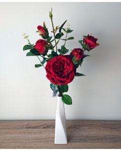 Artificial Red Rose Arrangement in Ceramic Vase