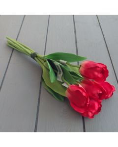 Artificial 40cm Red Tulip Bunch - 6 Stems