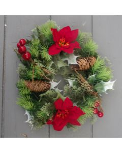 Artificial 25cm Red Poinsettia and Holly Wreath