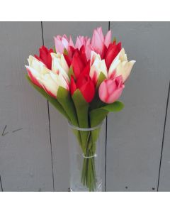 Artificial 24cm Red and Cream Tulips