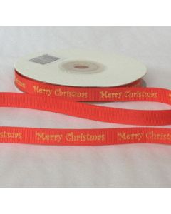 "Full 25m Roll of 10mm ""Merry Christmas"" Red Ribbon"