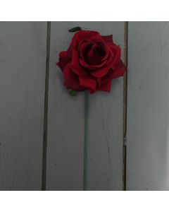Artificial 24cm Single Red Rose