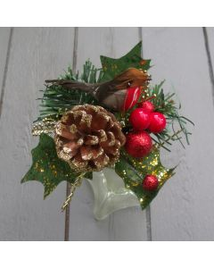 Artificial 16cm Red Berry, Cone and Robin Pick