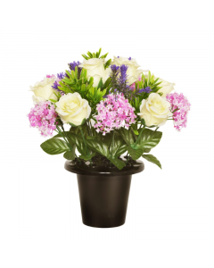 Artificial 23cm Ivory Rose, Pink Allium and Lavender Floral Memorial Grave Pot
