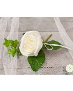 Artificial Cream Rose & Ivy Buttonhole