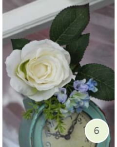 Artificial Cream Rose and Blue Hydrangea Corsage