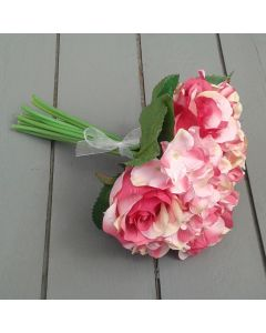 Artificial Pink Rose and Hydrangea Bouquet