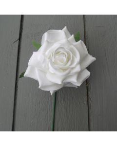 Artificial 24cm White Rose Single Stem
