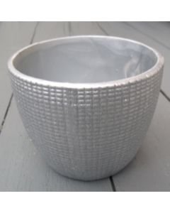 10cm Sparkly Silver Ceramic Pot