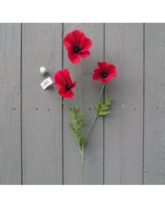 Artificial 59cm Red Poppy Spray