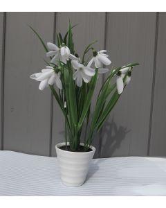 Artificial Snowdrops in Ceramic Pot