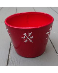 8cm Red Ceramic Pot with Snowflakes