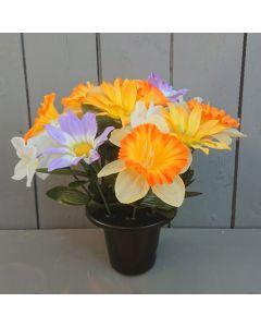 25cm Artificial Spring Grave Pot