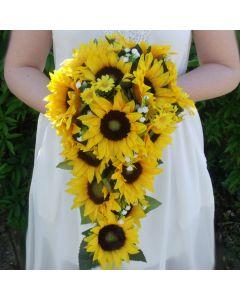 Artificial Sunflower Trailing Bridal Bouquet