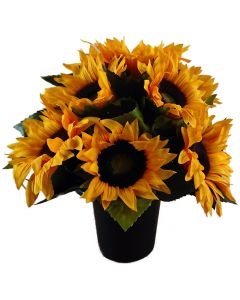 Artificial Sunflowers in Grave Pot