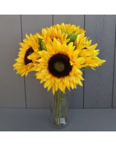 Artificial Sunflower Bunch in Glass Bottle