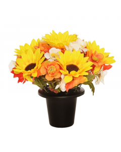 Artificial Autumn Sunflower & Anemone Grave Pot