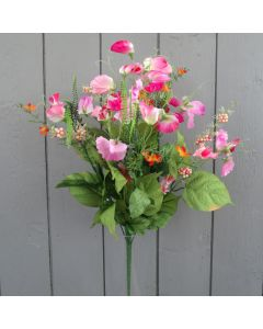 Artificial 45cm Pink Sweetpea Bush
