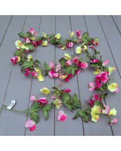 Artificial 6ft  Pink and Yellow Sweet Pea Garland