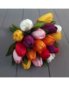 Artificial 29cm Mixed Bunch of Tulips - 18 Stems