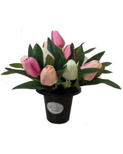 Artificial Pink and Ivory Tulip Grave Pot