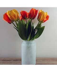 10 x Artificial Tulip Flowers with Frosted Vase