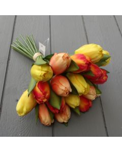 Artificial 29cm Orange and Yellow Tulips
