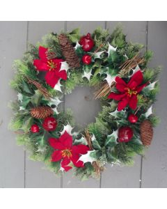 Artificial 40cm Red Poinsettia, Twig, Cone and Berry Wreath